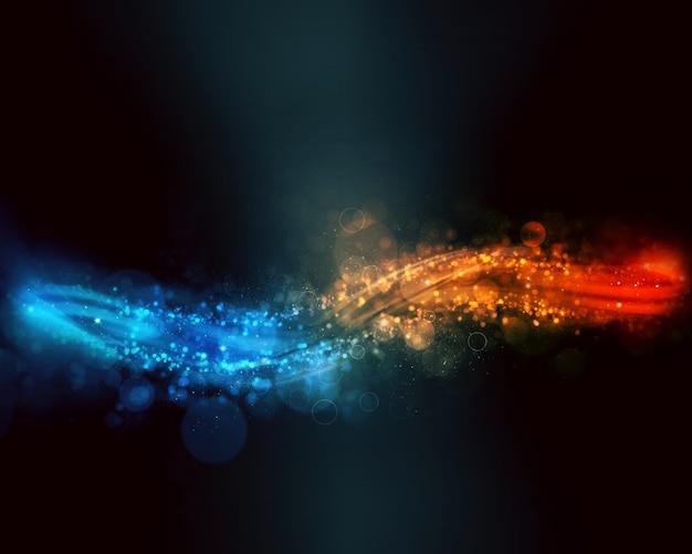 Résumé fond flottant en nuances de bleu et de rouge