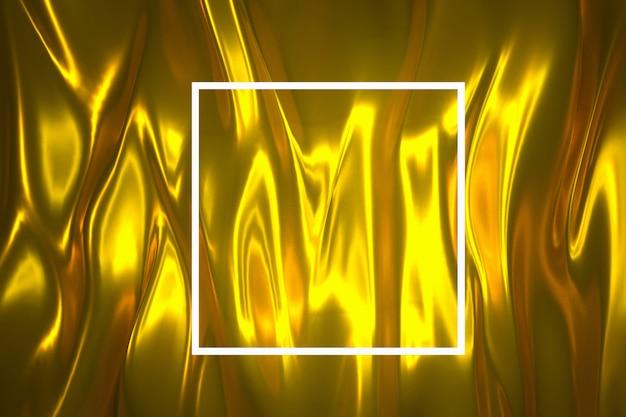 Résumé fond d'or illuminé avec cadre néon illuminé illustration 3d