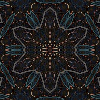 Résumé de fond d'ornement rétro vintage sombre, éléments de motif symétrique géométrique incurvé, effet kaléidoscope