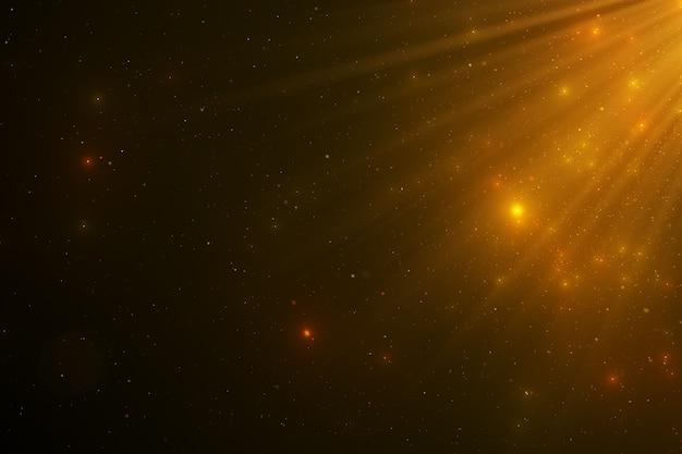Résumé fond de particules de poussière dorées flottantes étincelantes