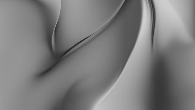 Résumé de fond de rendu 3d avec un élégant morceau de tissu déformé. tissu lisse avec des boucles, des torsions, des ombres et des plis.