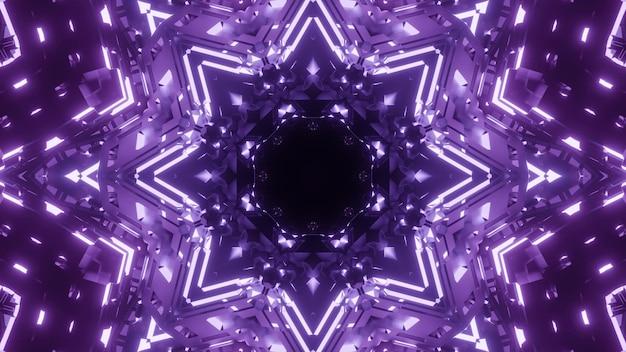 Résumé fond de tunnel géométrique kaléidoscopique avec lumière violette rougeoyante
