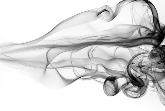 Résumé de fumée noir et blanc sur fond blanc, conception de feu