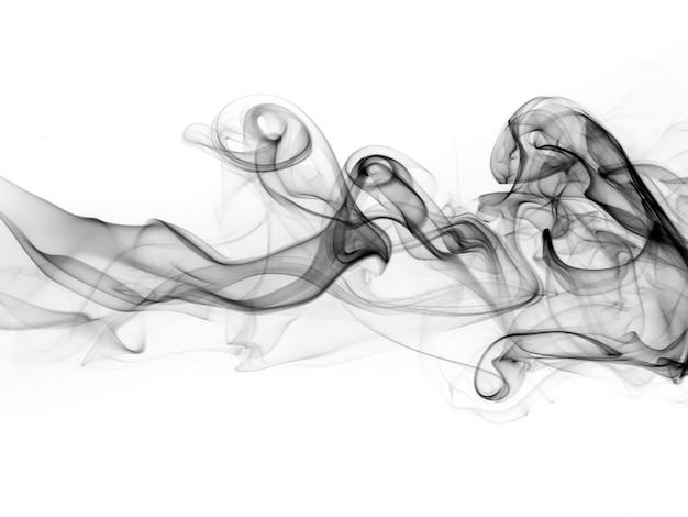 Résumé de fumée noire sur fond blanc