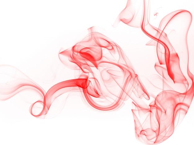 Résumé de fumée rouge sur fond blanc, conception de feu