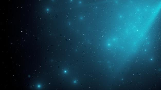 Résumé historique des particules de poussière bleue flottante étincelante