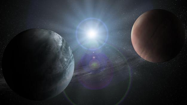 Résumé historique scientifique de la scène de l'univers dans l'espace