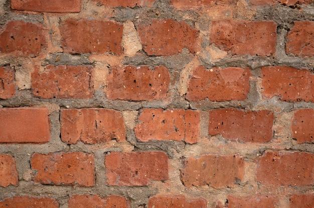 Résumé historique d'un vieux mur de briques rouges.