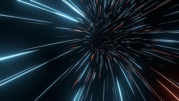 Résumé des lignes à rayures rapides avec des reflets lumineux.