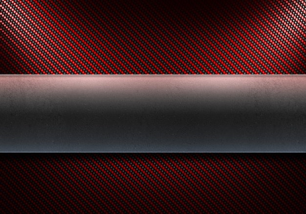 Résumé moderne en fibre de carbone rouge avec plaque en métal poli au centre