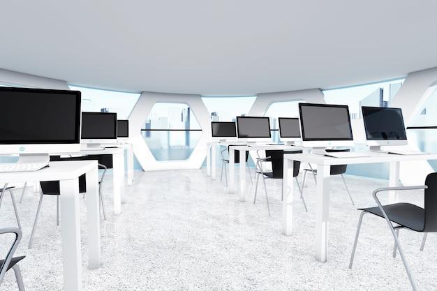 Résumé officeinterior lumineux avec gros plan extrême de lieux de travail. rendu 3d