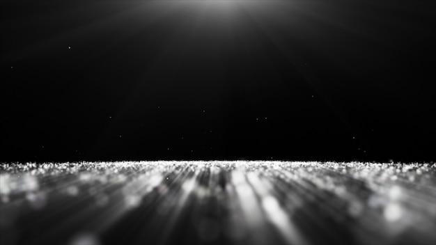Résumé de particules de poussière noir et blanc paillettes étincelles fond bokeh