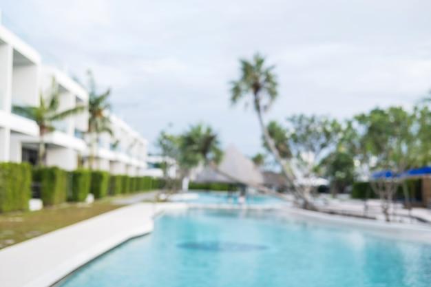 Résumé piscine villa floue fond.