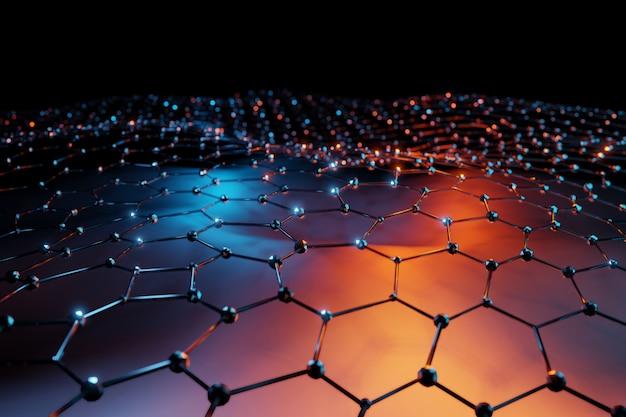 Résumé point métallique et connectez la technologie de ligne rendu 3d futuriste