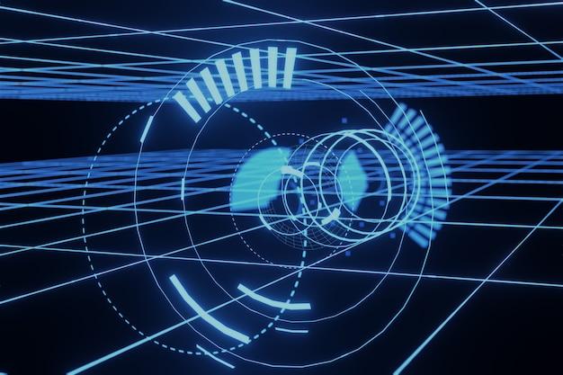 Résumé sci-fi futuriste hologramme hud gui 3d fond