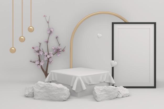 Résumé de style blanc et or géométrique minimal de sakura podium blanc