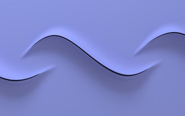 Résumé des vagues de papier violet rendu 3d design minimaliste moderne