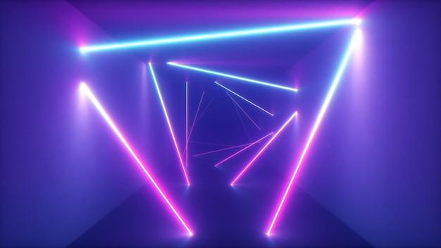 Résumé volant dans un couloir futuriste avec fond de triangles