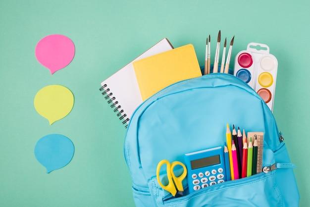 Retour au concept de l'école. concept de partage d'idées. en haut au-dessus de la photo vue de dessus du sac à dos bleu rempli de papeterie scolaire et de trois bulles isolées sur fond turquoise