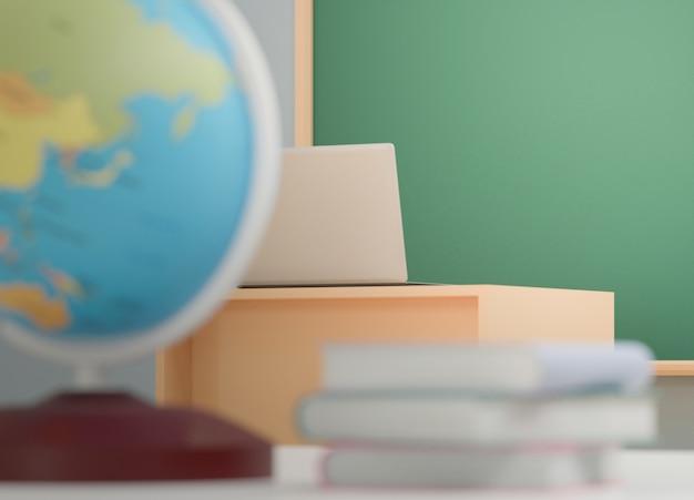 Retour au concept de l'école, globe terrestre sur table en classe sans étudiant avec chaises et tables sur le campus, rendu 3d