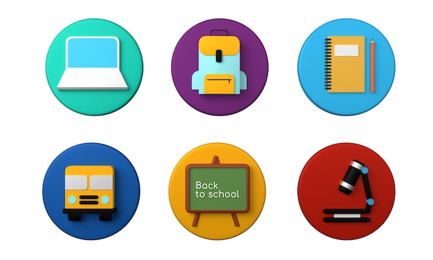 Retour au concept de l'école les icônes du thème de l'école définissent le rendu 3d
