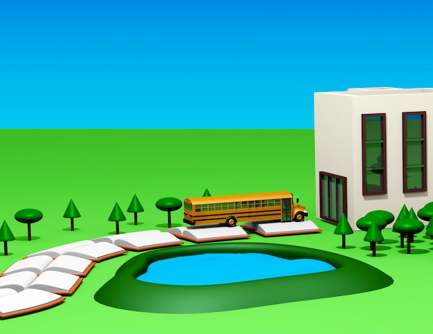 Retour à l'école avec autobus, route du livre, terrains de l'école et arbres de style cartoon