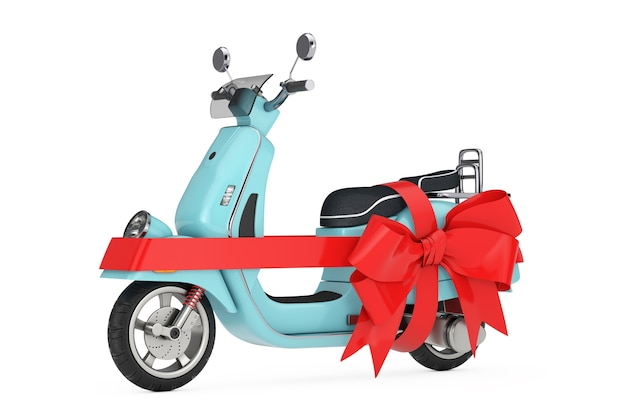 Rétro vintage classique ou scooter électrique avec ruban rouge comme cadeau sur fond blanc. rendu 3d