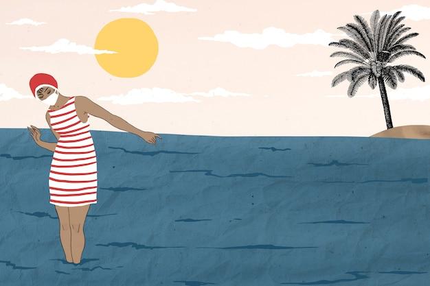 Retro woman by the sea background, remixé à partir d'œuvres de george barbier