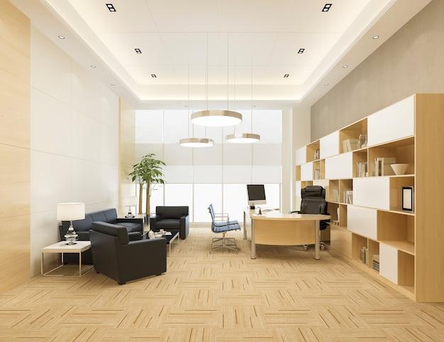 Réunion d'affaires de luxe de rendu 3d et salle de travail au bureau exécutif