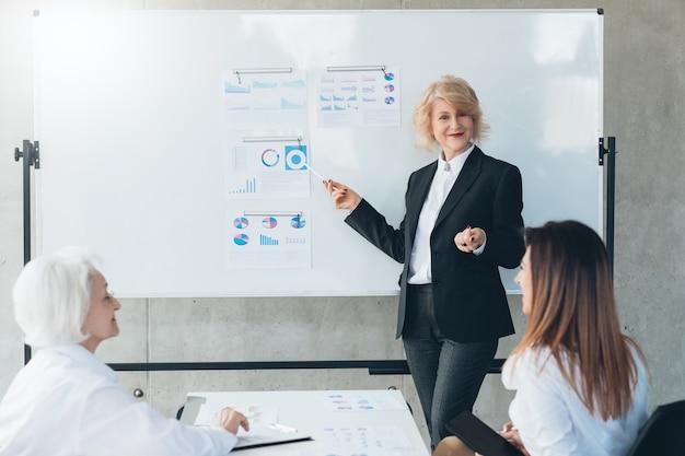 Réunion d'entreprise. femme d'affaires prospère au tableau blanc avec des graphiques, donnant une présentation.