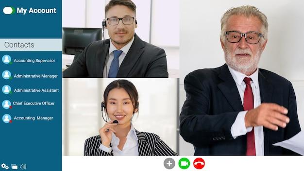 Réunion de groupe de gens d'affaires en vidéoconférence
