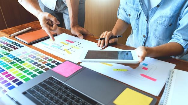 Réunion de travail en équipe de concepteur d'interface créative planification de la conception de développement d'application de mise en page filaire