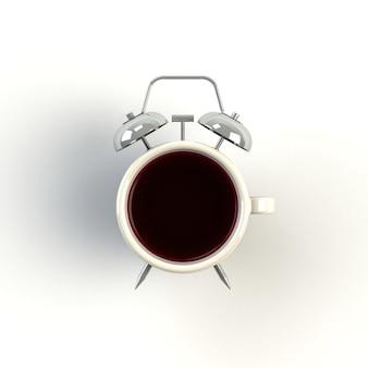 Réveil et café sur blanc