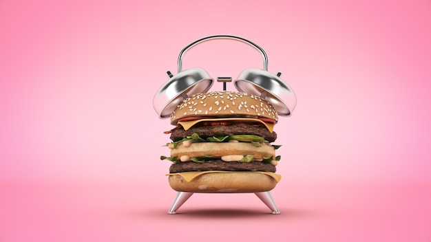 Réveil hamburger rendu 3d