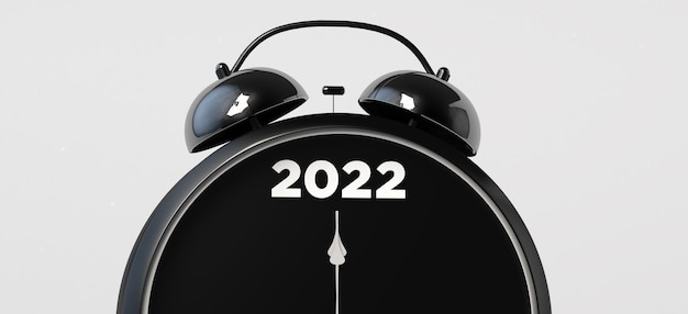 Réveil marquant la nouvelle année 2022. illustration 3d.