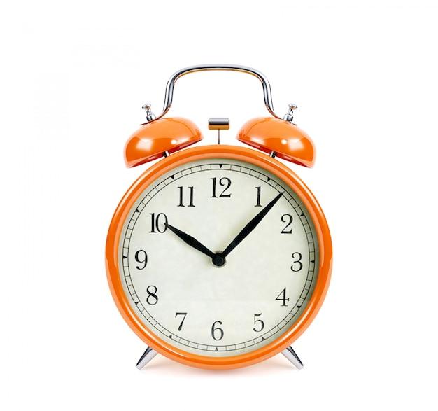 Réveil orange isolé, rendu 3d
