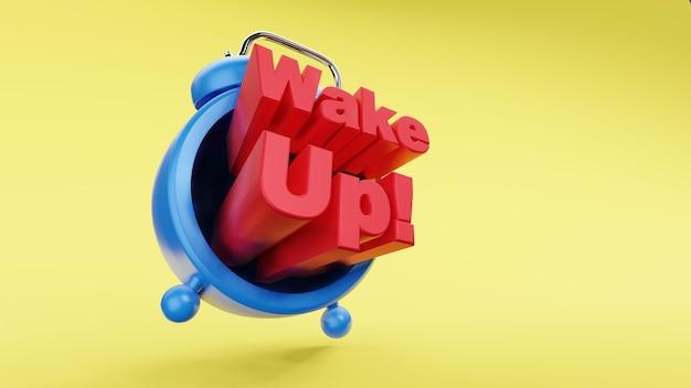 Réveil rétro vintage avec réveil texte rendu 3d du concept de temps