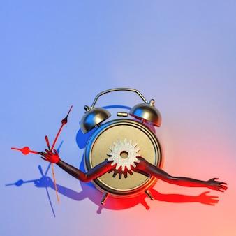 Réveil surréaliste et futuriste avec mains, équipement et flèches, concept de vacances de nouvel an, pause café.