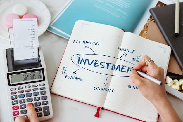 Revenu financier, schéma économique, argent, concept