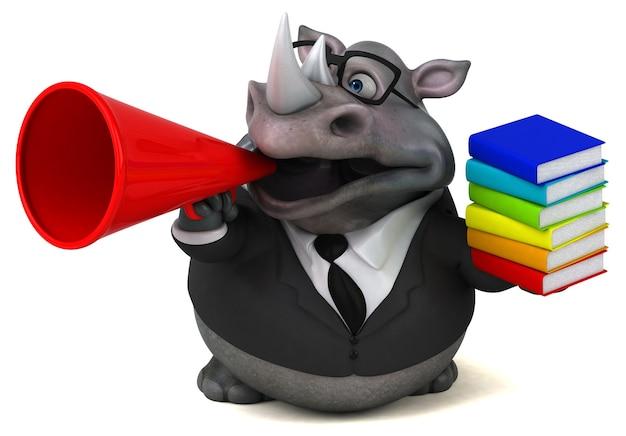 Rhinocéros amusant - illustration 3d
