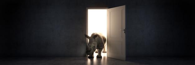 Le rhinocéros entre dans un rendu 3d de porte ouverte