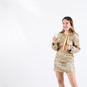 Riant, femme, tenue, champagne