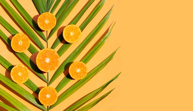 Riche en vitamine c, juteuse et sucrée. fruits orange frais sur fond orange. copier l'espace