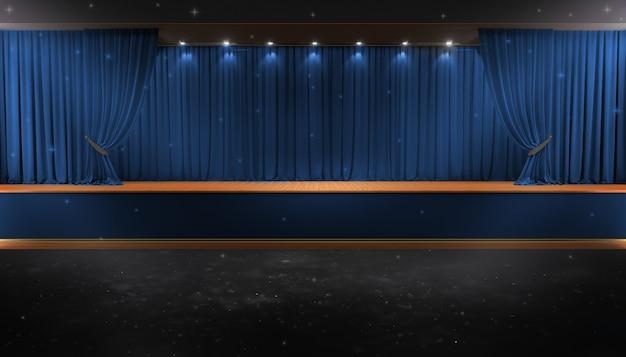 Rideau bleu et un projecteur. affiche du spectacle nocturne du festival