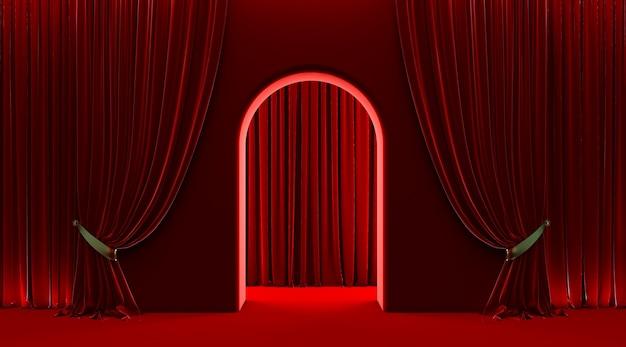 Rideau rouge, entrée de porte vip, porte en arc 3d