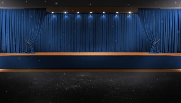 Rideau rouge et un projecteur. affiche du spectacle de nuit du festival. affiche de l'événement premier