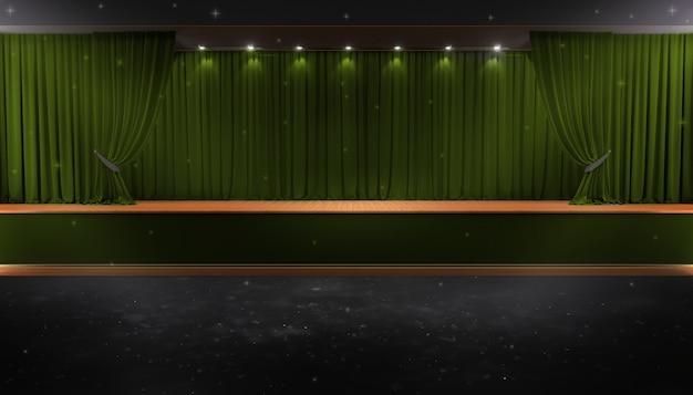 Rideau vert et un projecteur. affiche du spectacle nocturne du festival