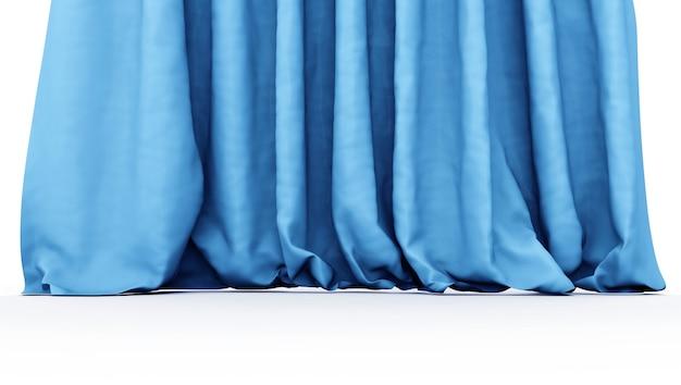 Rideaux bleus. 3d illustration isolé sur fond blanc