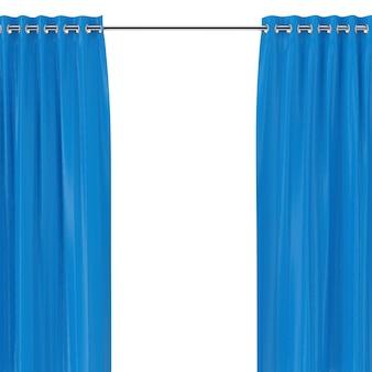Rideaux bleus avec oeillets sur le rebord rond sur fond blanc. rendu 3d
