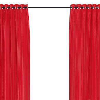 Rideaux rouges avec oeillets sur le rebord rond sur fond blanc. rendu 3d
